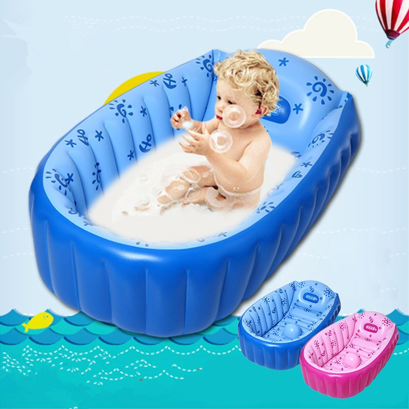 2016 newborn baby portable bathtub large inflatable pool float child bath tub foot air pump. Black Bedroom Furniture Sets. Home Design Ideas