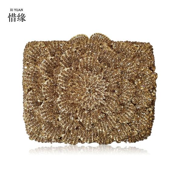 XIYUAN BRAN Silver Box Bag Diamond Women Clutch Bag Crystal Party Handbag Ladies Banquet Purse Fashion Pochette Prom Evening bag
