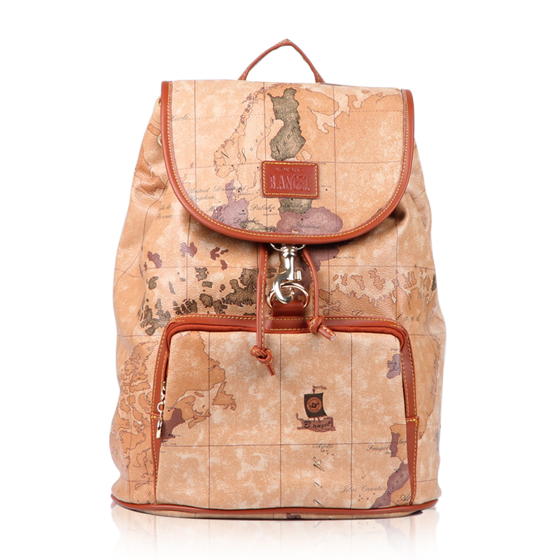 Promotion 2015 New Fashion World Map Bag PVC Leather vintage backpack female word map bag #731 - SW Factory store