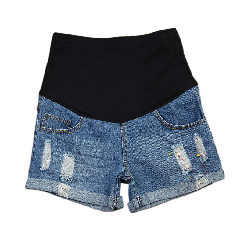 Maternity   Shorts   Premama with Paint Hole Maternity Jeans   Short   Care Belly Fashion Denim for Pregnant Trouser Lady Pants 2019