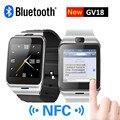 Smart watch gv18 con notificador de sincronización de la cámara soporte de tarjeta sim bluetooth conectividad iphone android teléfono smartwatch digitalwatch