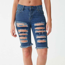 Sexy Destroyed Hole Skinny Tassel Jeans Women Casual Stretch Knee Length Denim Shorts Jeans Mid waist ripped boyfriend jeans women embroidery jeans knee length jeans push up capris jeans for women ripped short jeans pants skinny knee shorts denim pant