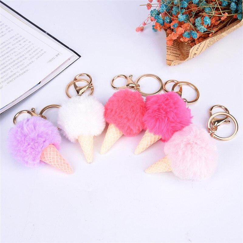 Keychain Faux Rabbit Fur Pom Pom Keyring Ice Cream Shape 5cm Fake ... a8a1a39344