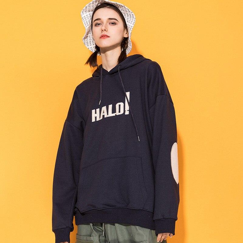 Japonais Harajuku femmes coude Patch Streetwear à capuche fille urbaine Hip Hop broderie sweat à capuche surdimensionné M-XL