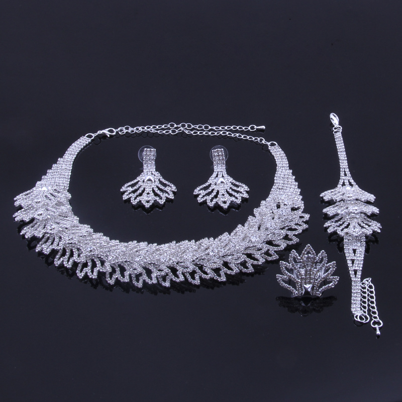 цена на YFJEWE Silver Necklace Earrings And Bracelet Sets Crystal Ring Jewelry For Women Jewelry Sets Bride Wedding Collar #N087