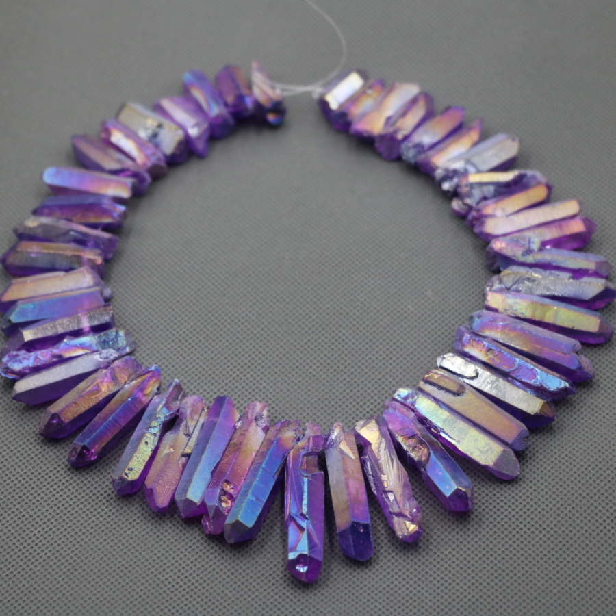 Approx 54pcs/strand Natural Raw Purple AB Quartz Crystal Point Pendant Rough Top Drilled Spike Gem Beads Crystal Women Necklace 6pcs natural fluorite quartz crystal wand point healing