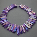 Approx 54pcs/strand Natural Raw Purple AB Quartz Crystal Point Pendant Rough Top Drilled Spike Gem Beads Crystal Women Necklace