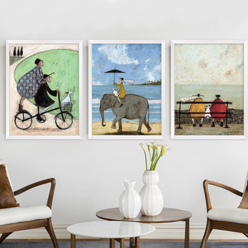 Gohipang Happy Family Abstract Love Canvas Painting Vintage Posters Prints Scandinavian Nordic Wall Art Picture For Bedroom Home
