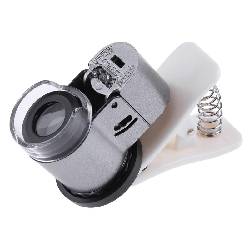 65X <font><b>Zoom</b></font> Clip-on Microscope LED Jewelry Loupe + UV Light Magnifier Micro <font><b>Lens</b></font> Universal for Mobile <font><b>Phone</b></font> Magnifier