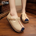 Plus size Fashion linen shoes women retro embroidery canvas platform shoes ladies flats boat shoes loafers women color blocking