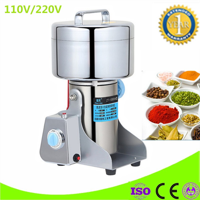 220V/110V Powdered Sugar Mill 1000g Swing Grinder Herb Powder Machine Food Grade Stainless Steel Crusher Electric Food Mills high quality 300g swing type stainless steel electric medicine grinder powder machine ultrafine grinding mill machine