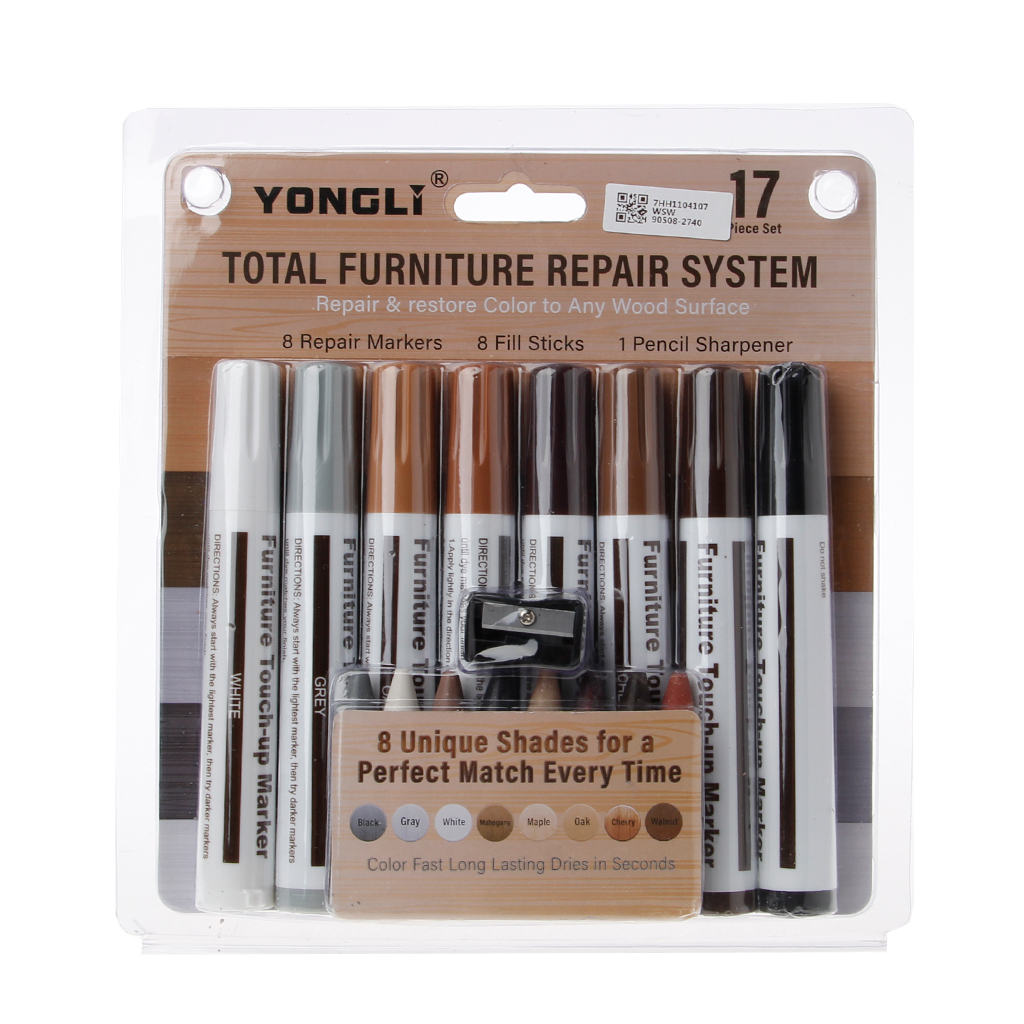17Pcs Furniture Touch Up Kit Markers & Filler Sticks Wood Scratches Restore Kit