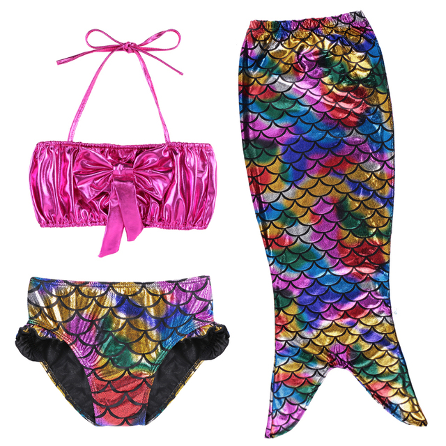 Cute Toddler Girls Mermaid Bikini Tail Swimming Suit