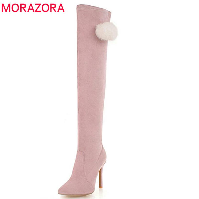 MORAZORA 2018 size 34-48 over the knee boots women pointed toe autumn winter boots sexy stiletto heels long boots prom shoes