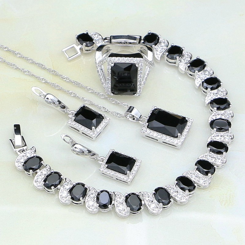 925 Sterling Silver Jewelry Black Zircon White Rhinestone Jewelry Sets For Women Wedding Earring/Pendant/Necklace/Bracelet/Ring viennois new blue crystal fashion rhinestone pendant earrings ring bracelet and long necklace sets for women jewelry sets
