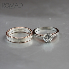 ROMAD Forever Love Wedding Engagement Rings Valentines Day Gift for Women Men Ring CZ Zircon Couple Jewelry anillo hombre