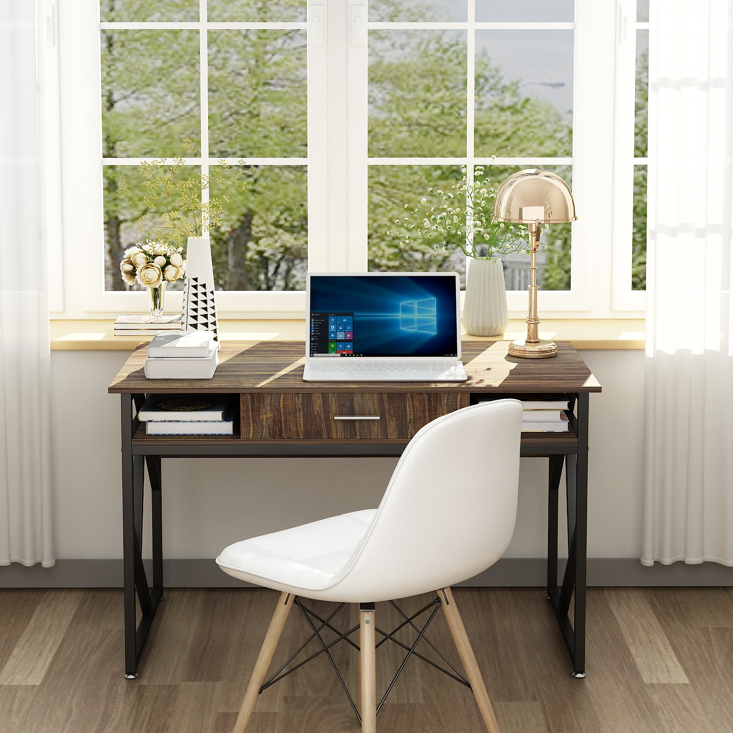"Computer Desk With Drawer DEWEL 47"" Executive Desk Office Write Desk PC Laptop Workstation Space-Saving Study Desk With Storage"