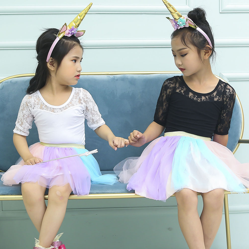 Pastel Clothing Unicorn Girls Skirts Princess Tutu Pony Knee Length Party Skirt with Hairband Set Kids Girl Tutu Skirts Children in Skirts from Mother Kids