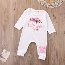 Newborn Baby Girls Clothes Romper Long Sleeve Little Sister Floral Rompers Playsuit