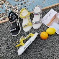Black Yellow Fashion 2019 New Rhinestone Femme Shoes Summer Sandals Women middle heels Sandals Magic paste Comfortable Shoes