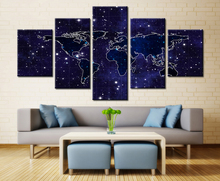 Buy night sky map and get free shipping on aliexpress hd print 5 panel night stars sky shine world map modern home wall decor canvas picture gumiabroncs Gallery