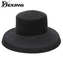 De moda de verano Casual sol sombrero para la playa de las mujeres sombreros  de sol visera sombrero de cubo Panamá Floppy de paj. 9bd36b459603