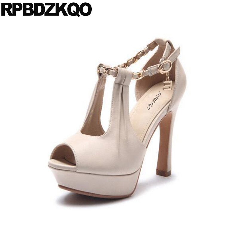 Size 33 Gold Pumps Shoes Ultra Peep Toe Brand Platform Fish Mouth High Heels Sandals Ankle Strap Super Beige Extreme Ladies мангал boyscout 61237 сборный 50х30х50см 6 шампуров
