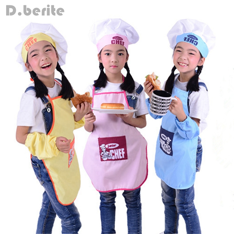 Apron Pocket-Set Painting Chef-Hat Drink Food-Baking Kitchen Kids Children Cute Fashion
