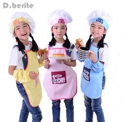 Милые дети фартук моды шеф-повар шляпы карманный набор детей художественных промыслов Кухня Пособия по кулинарии напиток Еда выпечки DIY
