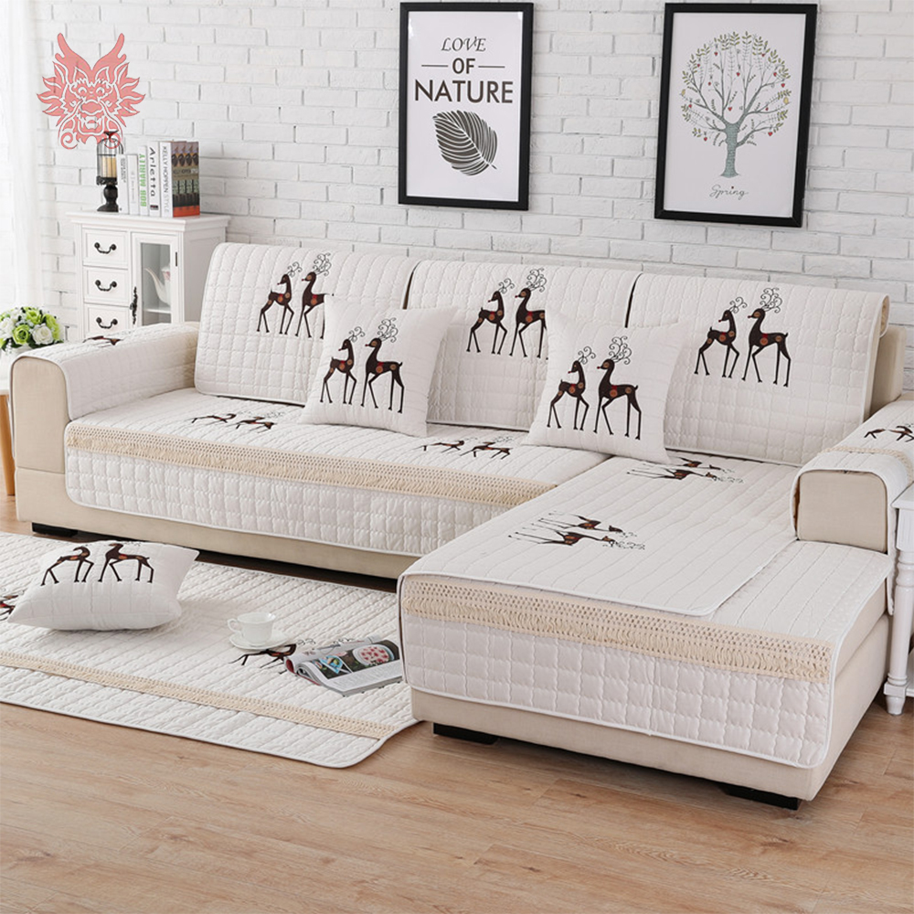 Pastoral Cartoon Deer Embroidery Quilted Cotton Sofa Cover For