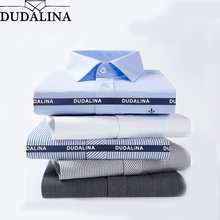 DUDALINA 2017 Men Casual Long Sleeved Solid shirt Slim Fit Male Social Business Dress Shirt Pocket Men Clothing Striped