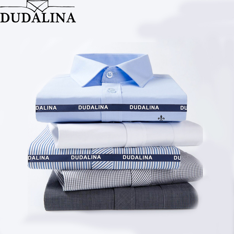 DUDALINA 2019 Men Casual Long Sleeved Solid Shirt Slim Fit Male Social Business Dress Shirt Pocket Men Clothing Striped