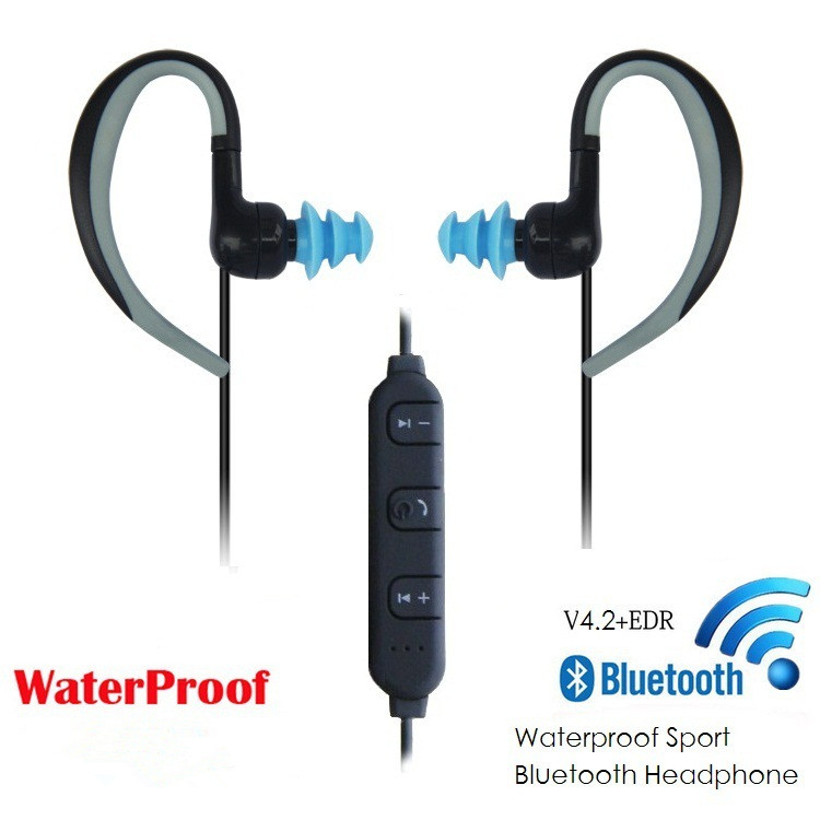4.2 Bluetooth Waterproof Headset Headphones Wireless Headphone Microphone AptX Sport Earphone USB Plug For iPhone Android Phone цена 2016