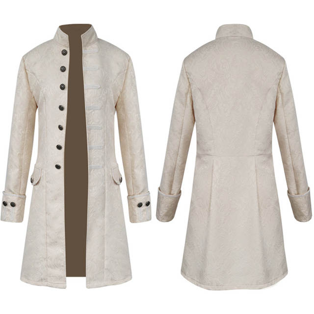 Men Goth Steampunk Victorian Frock Coat Stand Collar Nobleman Jacket Retro  European Medieval Jacket Larp Viking Costume Uniform