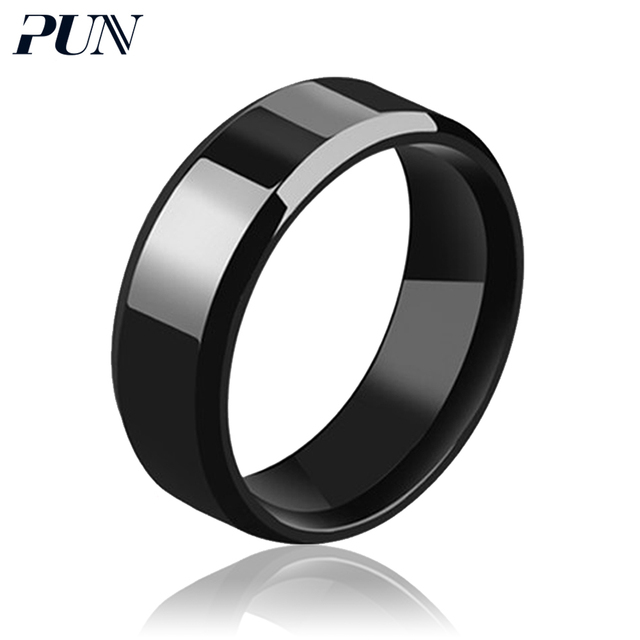 PUN 2018 rings for men black silver blue ring male stainless steel vintage jewel