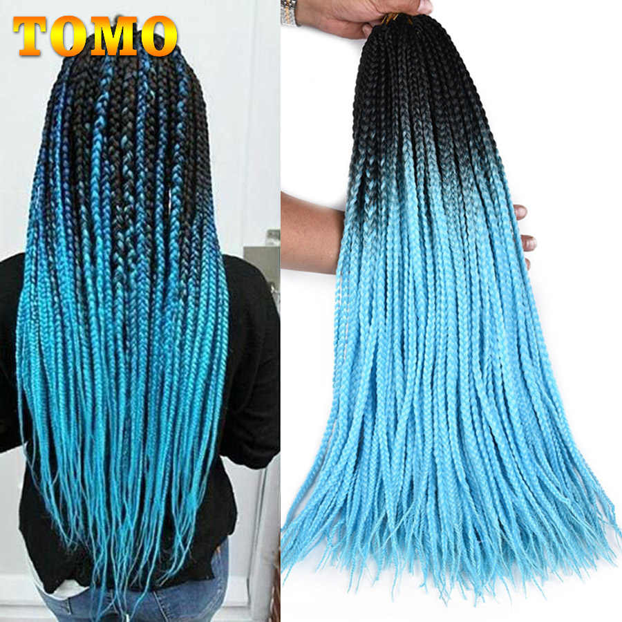TOMO Colored Box Braid Crotchet Braids 24Inch Ombre Synthetic Braiding Hair Extension 22Roots RainbowCrochet Hair African Braids