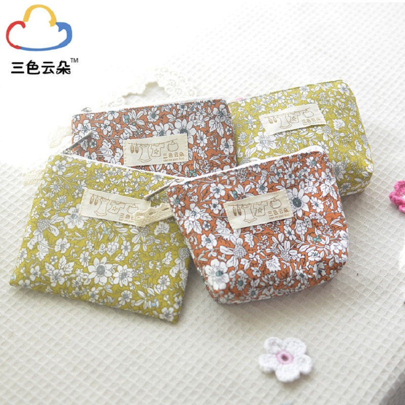 4pcs/lot floral cotton linen creative women coin bag female small change purse ladies wallet girls napkin paper organizer pouch