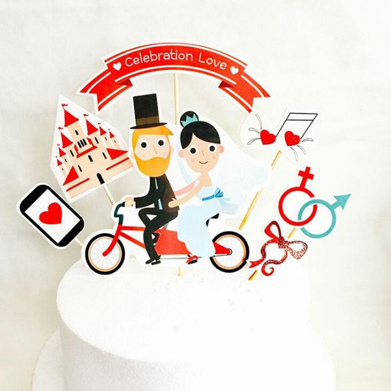 1 Set Cute Bride Groom Cupcake Topper Set for Childrens Brithday Baby Shower Wedding Party Cake Decoration Supplies