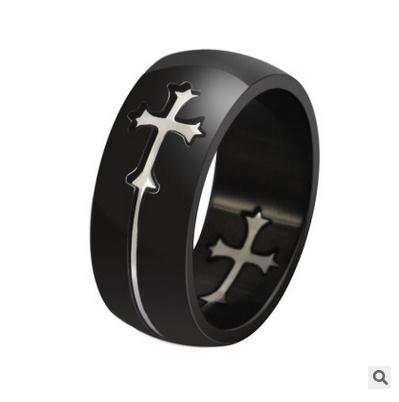 2017 popular non mainstream men titanium steel black cross ring stainless steel exquisite ring in Rings from Jewelry Accessories