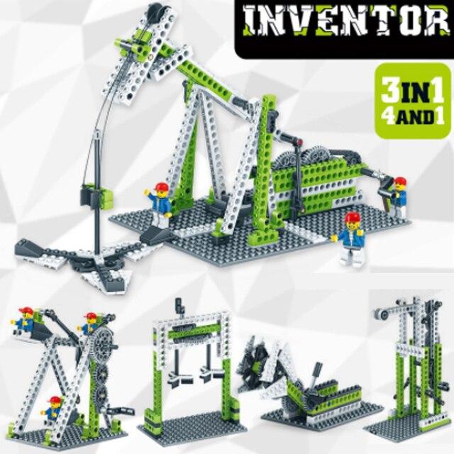 LWKO 4 IN 1 Inventor Educational Building Blocks for Kids Learning Bricks Plastic Block Legoe Toys Brinquedos for Children gift