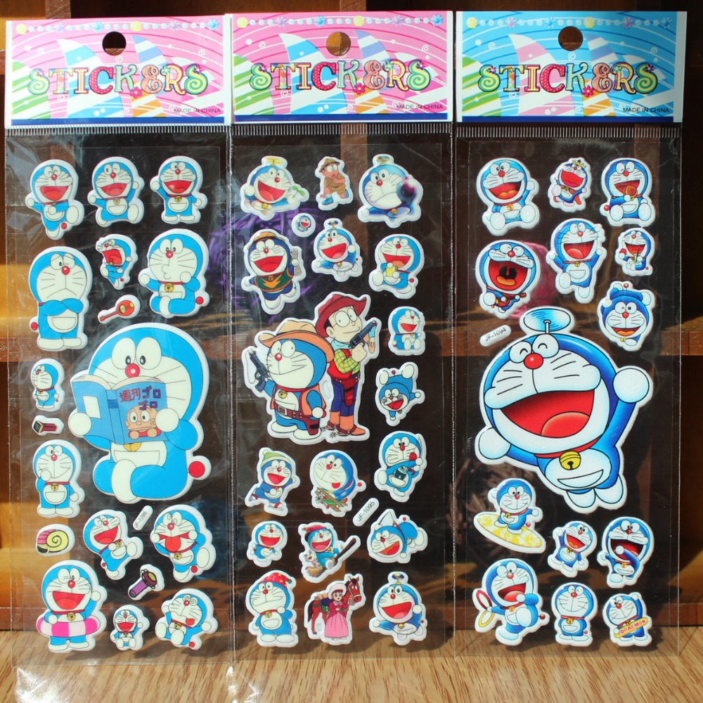 10PCS/lot 3D carton bubble sticker of doraemon puffy stickers for kids birthday present,party favor