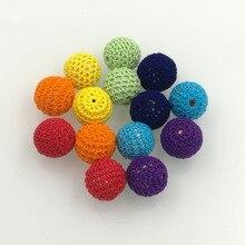 DIY beading rainbow color Chunky wooden crochet beads 20mm round beads, rainbow jewelry 14PCS pattern WC061
