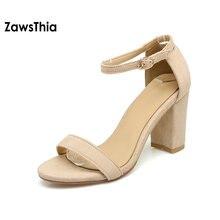 Zawsthia 2018 лодыжки ремень Каблучки женские босоножки Летние женские туфли с открытым носком высокий толстый каблук платье Сандалии для девочек большие размеры 42 43