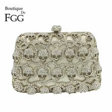 Boutique De FGG Rock & Roll Silver Crystal Women Skull Mini Evening Bags Minaudiere Clutches Handbag Wedding Clutch Bridal Purse
