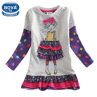 2015 New Spring Autumn Girl Dress Children Clothing Pattern Character Casaul Kids Clothes Girls Dresses Cotton