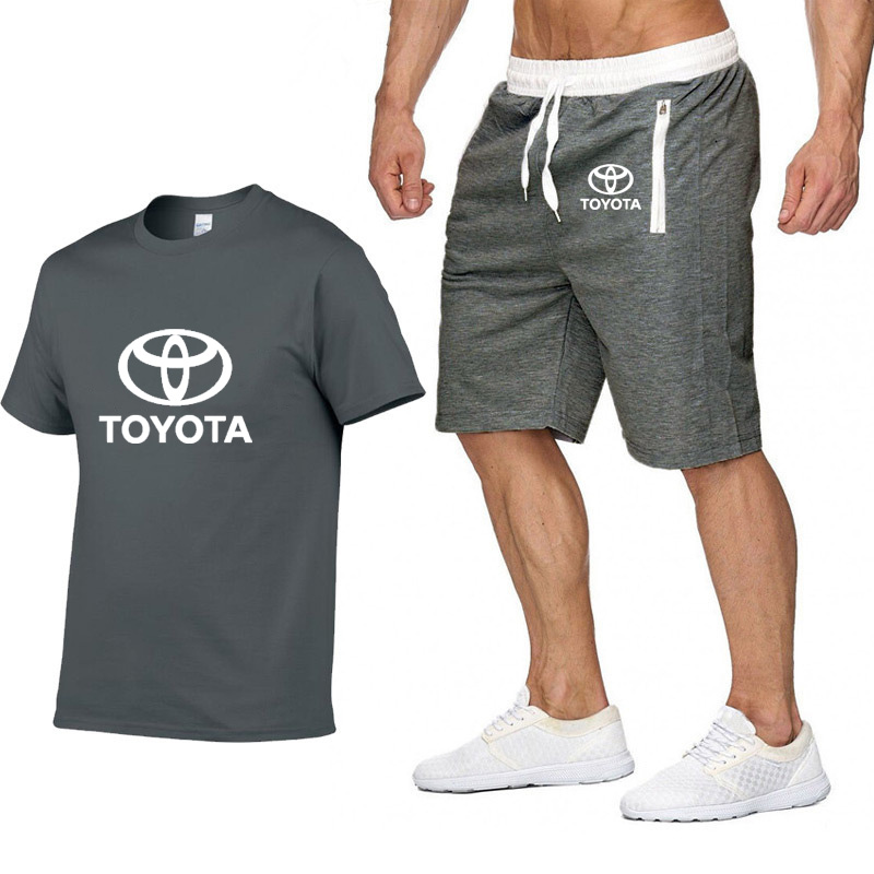 Mens Short Sleeve Toyota Car Logo Casual Summer Mens T Shirt Hip Hop T-Shirt High Quality Cotton T Shirts Pants Suit Sportswear