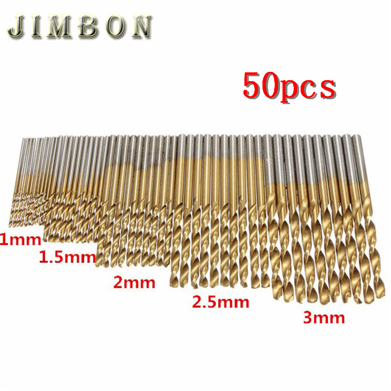 50Pcs/Set Twist Drill Bit Set Saw Set HSS Steel Titanium Coated Drill Woodworking Wood Tool 1/1.5/2/2.5/3mm For Metal Drilling 13pcs lot hss high speed steel drill bit set 1 4 hex shank 1 5 6 5mm free shipping hss twist drill bits set for power tools