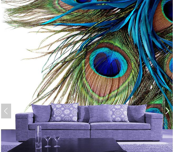 Custom modern wallpaper, peacock feather photo mural for the living room room restaurant background wall wallpaper custom baby wallpaper snow white and the seven dwarfs bedroom for the children s room mural backdrop stereoscopic 3d