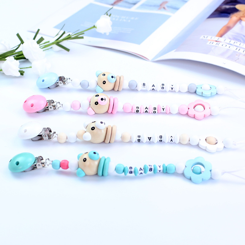 Cute Pig Wooden Beads Pendant Flower Beads Pacifier Chain Holder Dummy Clip For Newborn Baby Infant Dummy Feeding