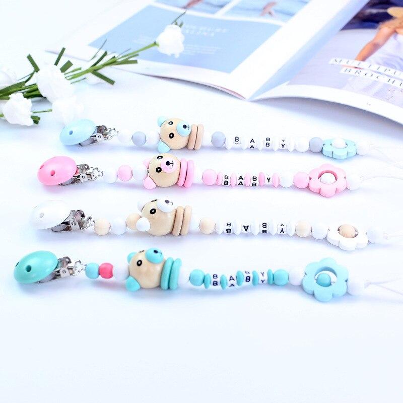Cute Pig Wooden Beads Pendant Flower Beads Pacifier Chain Holder Dummy Clip For Newborn Baby Infant Dummy Feeding